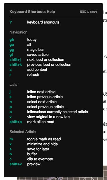 Screenshot: Shortcuts in feedly