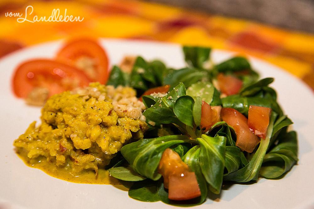 Rezept: Feldsalat an Curryrahm