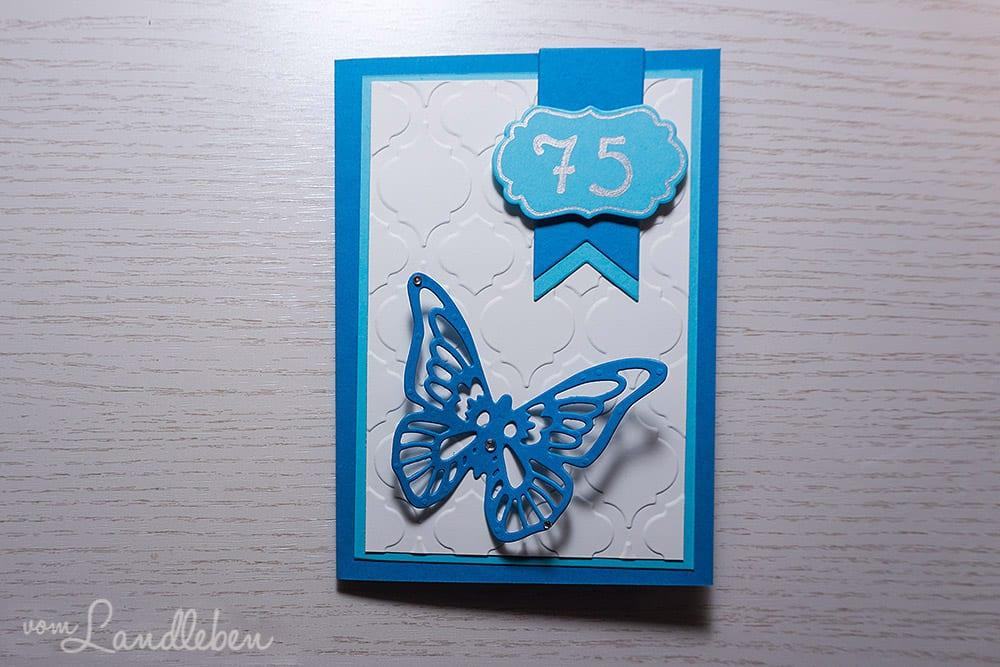 Selbstgebastelte Geburtstagskarte für einen 75. Geburtstag