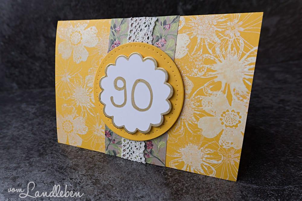 Selbstgebastelte Geburtstagskarte zu einem 90. Geburtstag