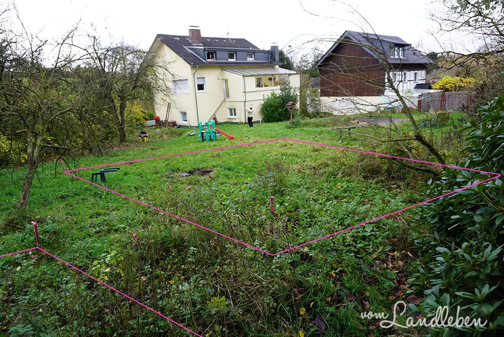 Grobabsteckung auf unserem Grundstück - Projekt Hausbau