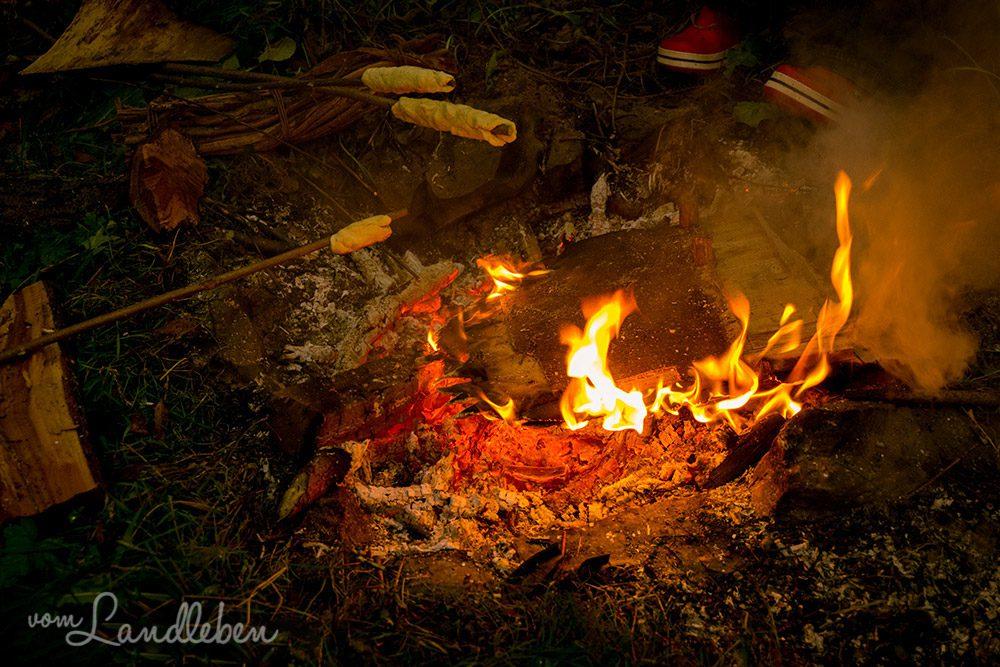 Lagerfeuer auf dem Grundstück