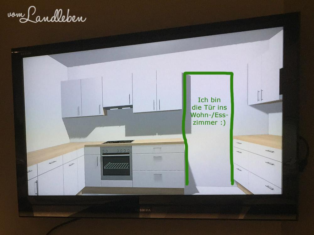 Blick vom Kühlschrank aus. Links kommt die Spüle hin, da ist auch das Fenster. Neben dem Kühlschrank (gegenüber vom Backofen) geht's in die Vorratskammer.