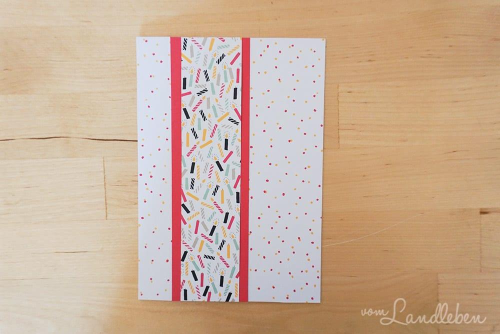 """Streifen im Farbton """"Wassermelone"""": 4,5 x 15cm, Designerpapier-Streifen: 3,5 x 15cm"""