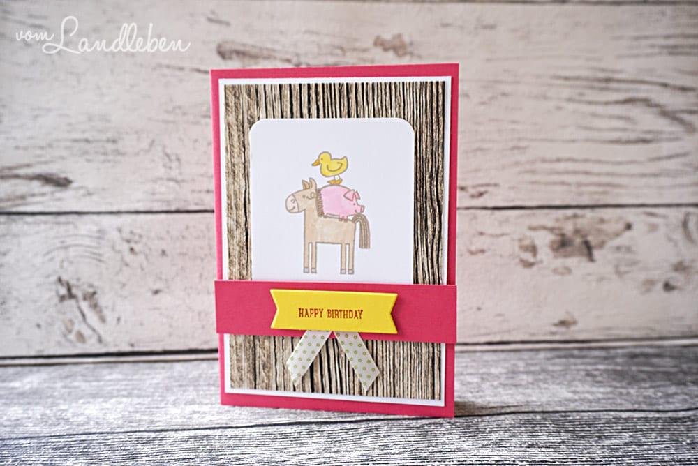 Eine Geburtstagskarte mit den Barnyard Babies