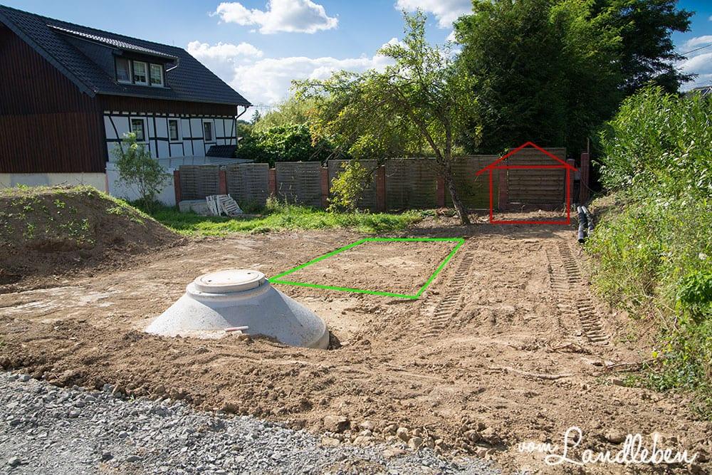 Unsere Baustelle - Planung von Mulde und Gartenhäuschen