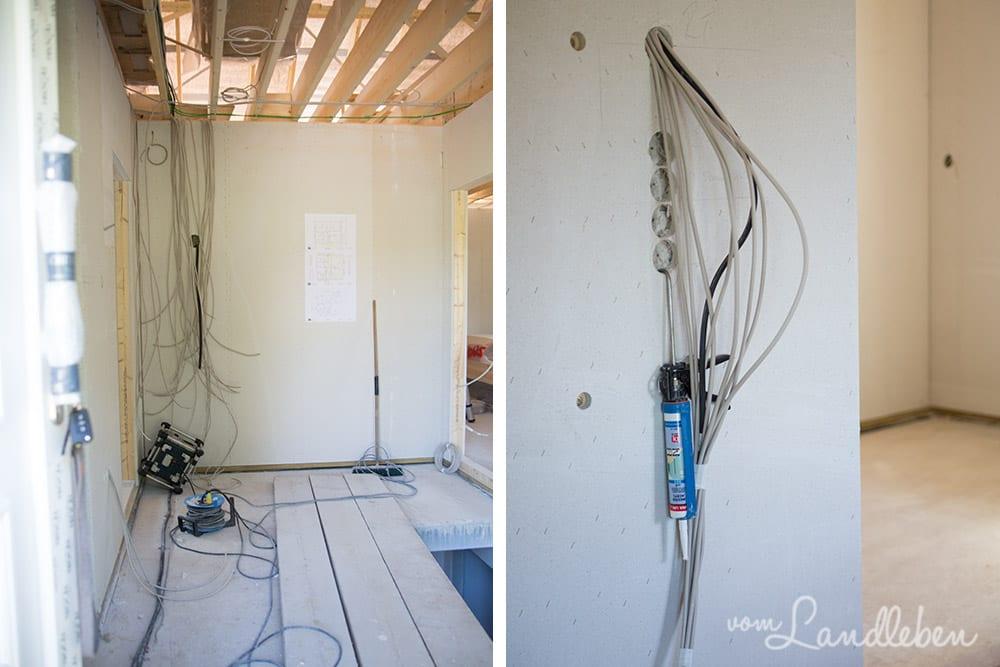 Links: Blick von der Haustür in die Diele. Rechts: die Schalter im Wohnzimmer