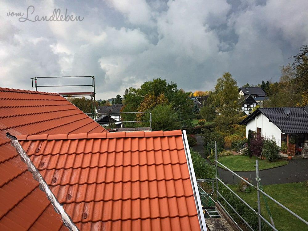 Hausbau: Blick vom Gerüst