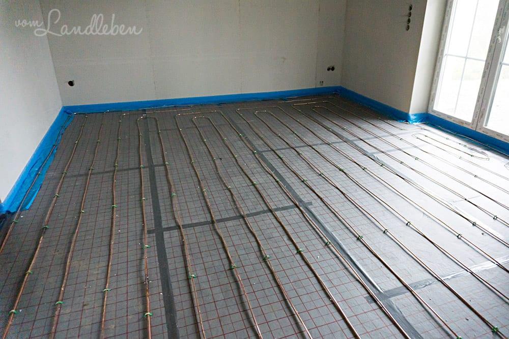 Die Fußbodenheizung im Wohn-/Esszimmer