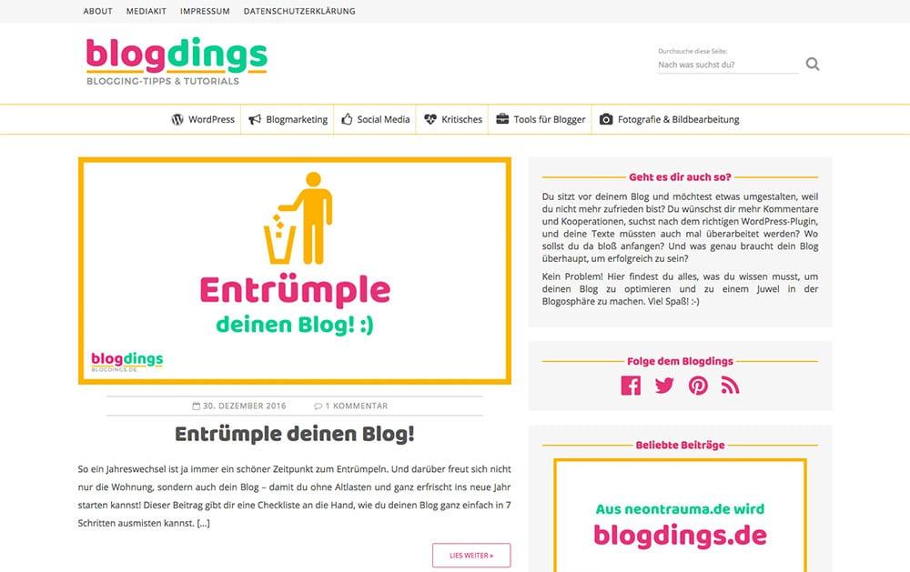 Screenshot von blogdings.de