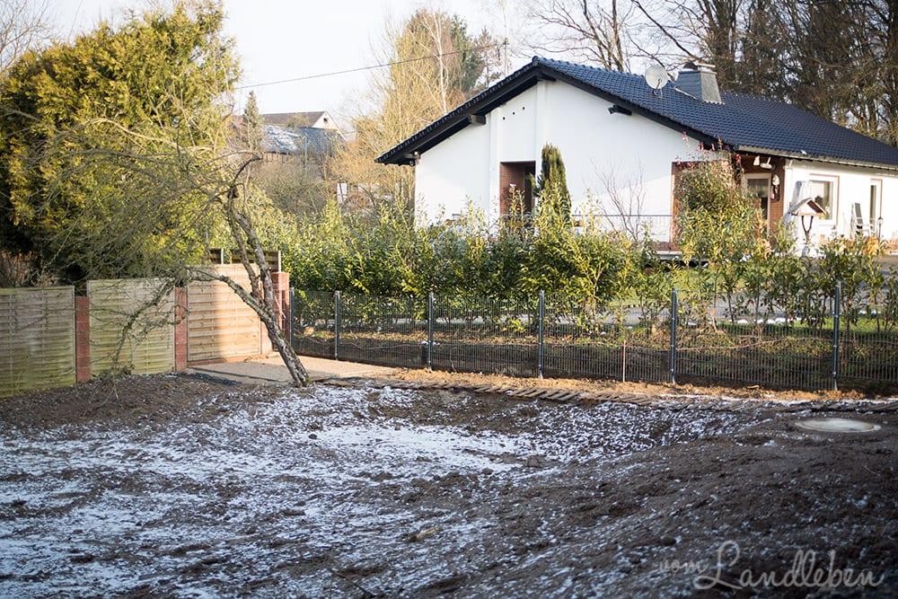 Gartenzaun um unser Danhaus: Doppelstabmattenzaun in Anthrazit