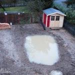 Unser Garten im Februar 2017: Wasser in der Mulde