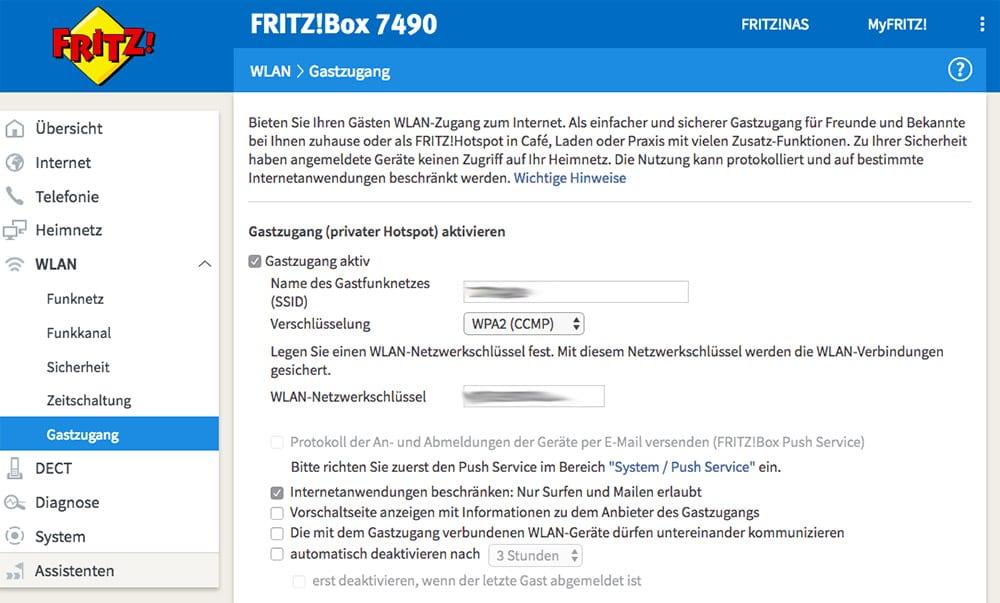 WLAN-Gastzugang an der FRITZ!Box