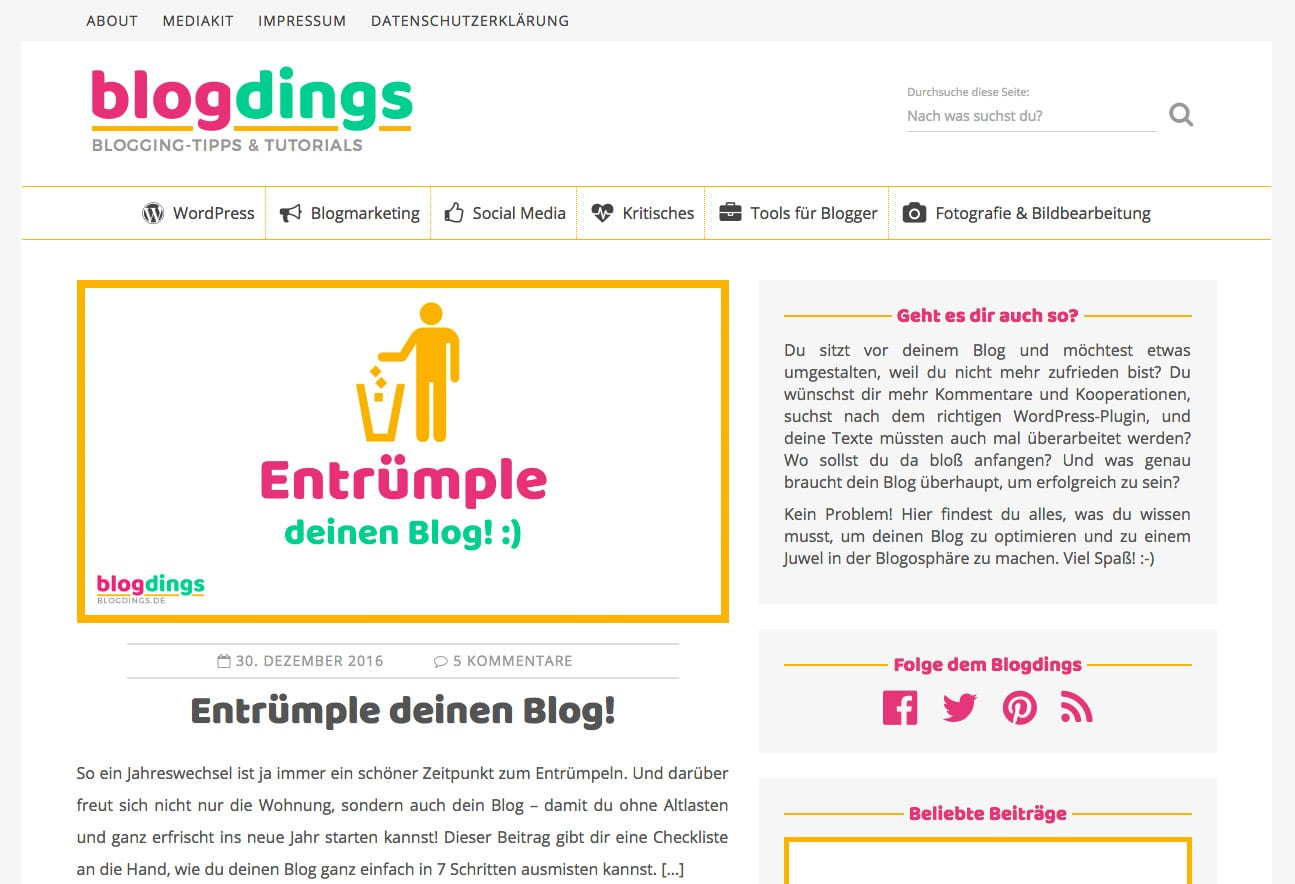 Screenshot blogdings.de