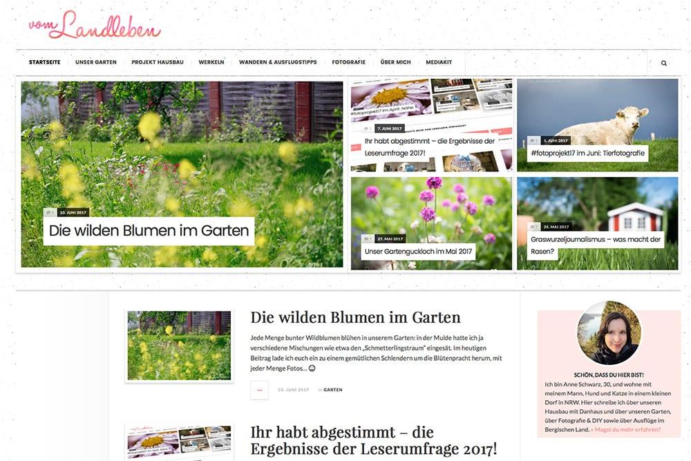Screenshot: bisheriges Layout von vom-landleben.de