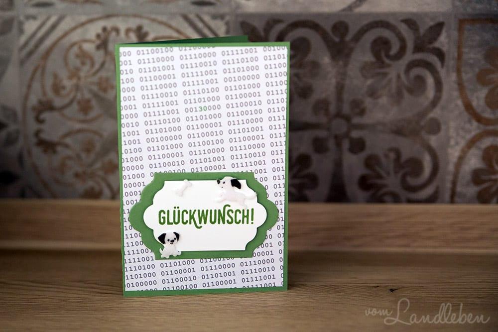 Kartengebastel: Geburtstagskarte Nerd mit Hund