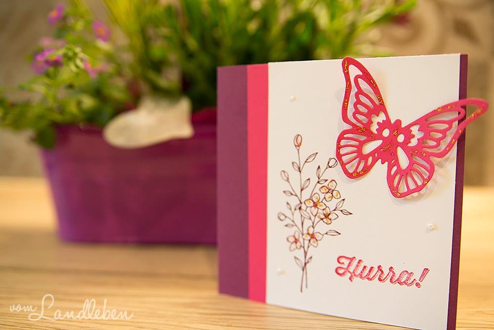 Geburtstagskarte mit Schmetterling - Kartengebastel