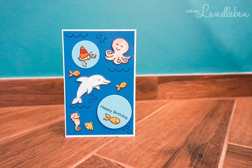 DIY-Geburtstagskarte mit Meer und Fischen