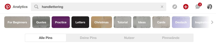 Die Suchfunktion auf Pinterest