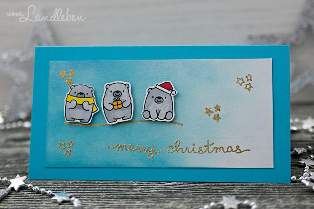 Selbstgebastelte Weihnachtskarte – Bitty Bears