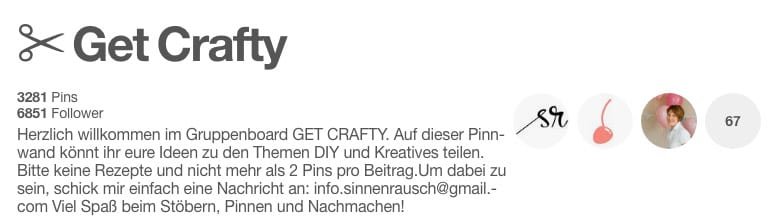 "Pinterest – Gruppenboard "" Get Crafty"""