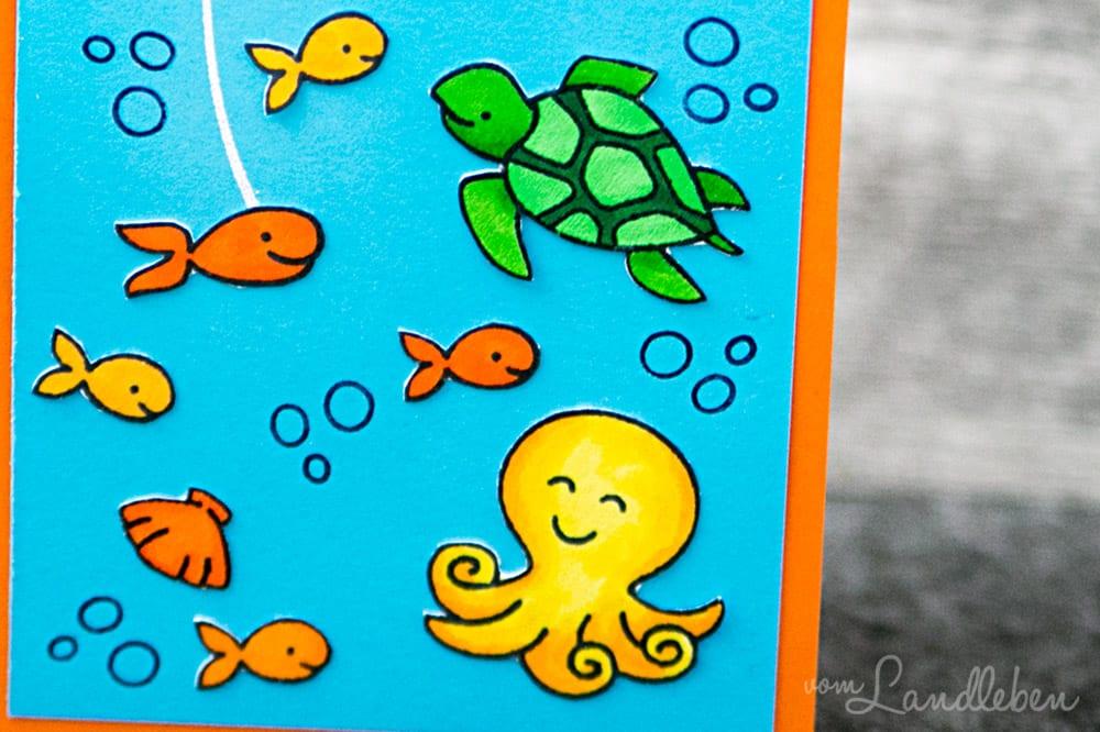 Selbstgebastelte Geburtstagskarte mit Meerestieren