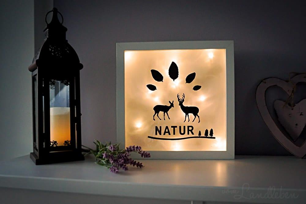 eine diy lightbox aus einem bilderrahmen basteln vom landleben. Black Bedroom Furniture Sets. Home Design Ideas
