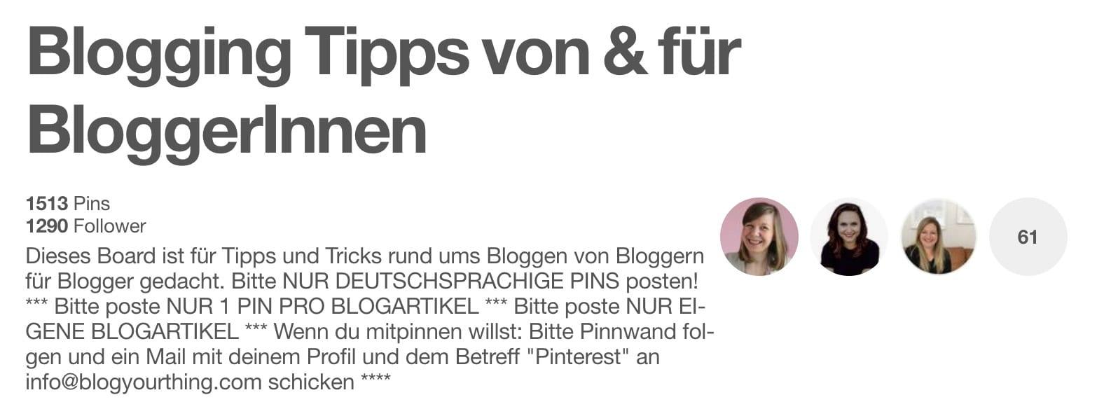 Pinterest: Gruppenboards