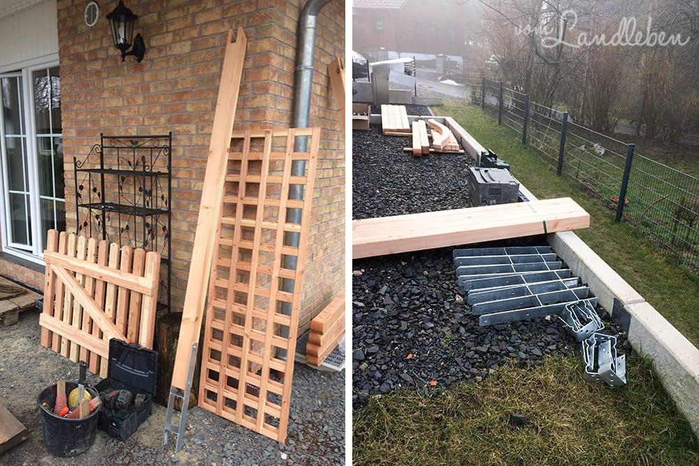 Holzzaun an der Terrasse – Montage