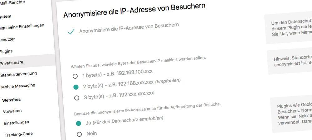 Matomo: IP-Adressen anonymisieren