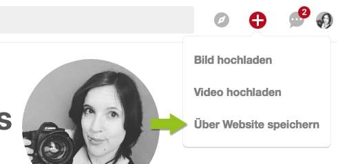 Pinterest: Über Webseite speichern
