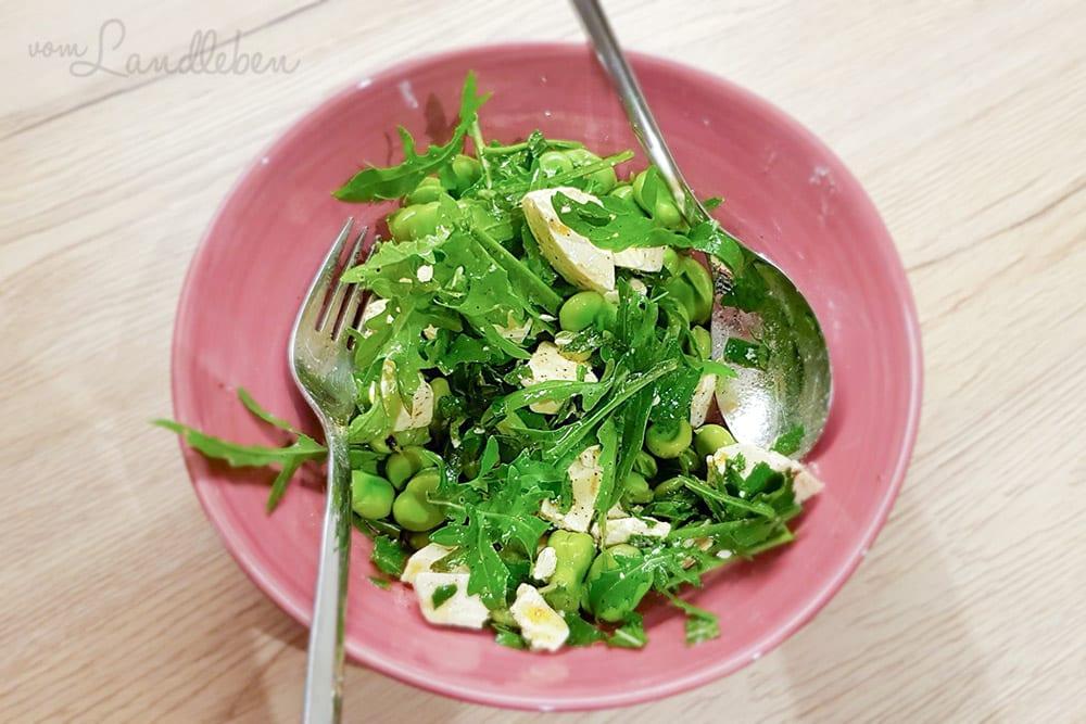 Salat aus Dicken Bohnen und Rauke