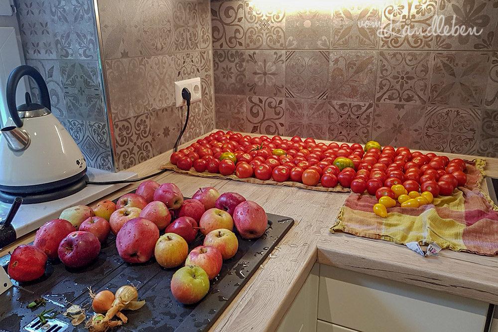 Einmach-Session: Äpfel und Tomaten