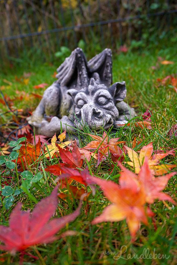 Schlafender Drache im Herbst unterm Ahorn