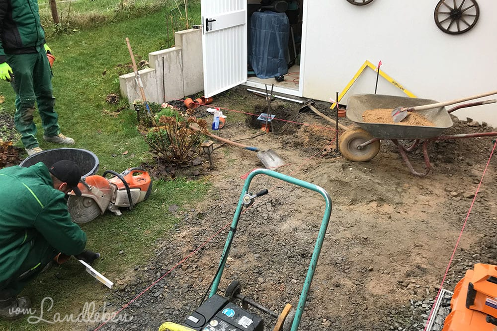 Drainage an der Garage