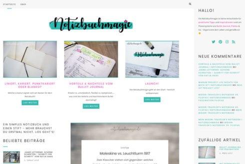 Screenshot notizbuchmagie.de - Juni 2019