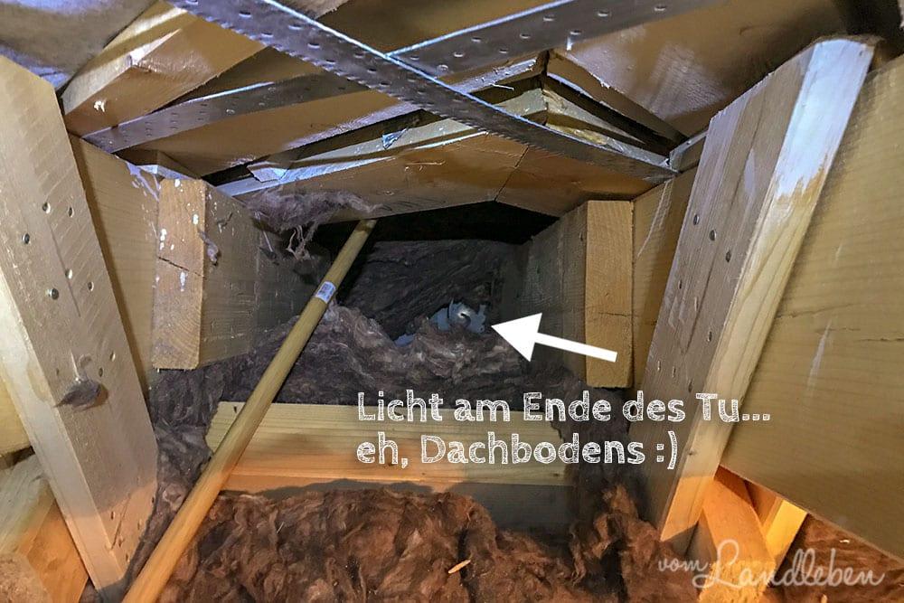 Dämmwolle auf dem Dachboden vom Danhaus