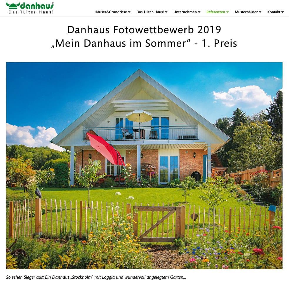 Screenshot von danhaus.de: Fotowettbewerb 2019