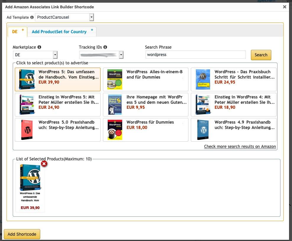 Amazon Associates Link Builder - Gutenberg-Block