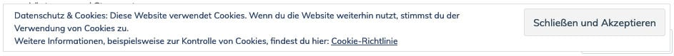 Bisheriges Cookie-Banner von wordpress.com