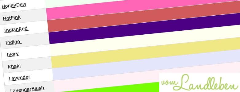 Farbnamen in CSS