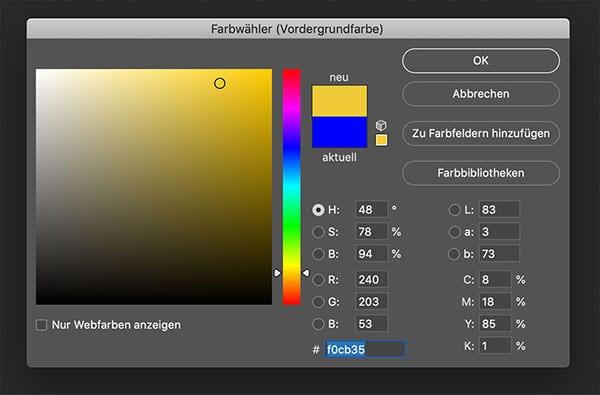 Der Farbwähler in Photoshop