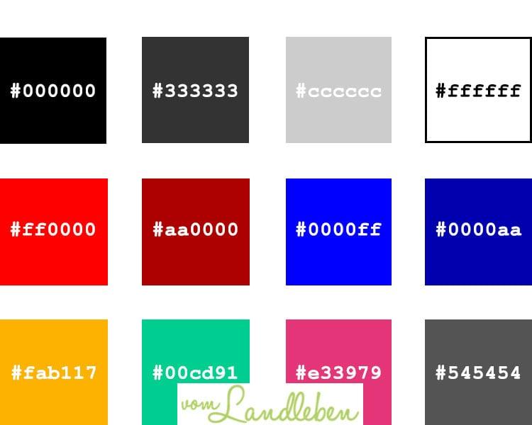 Hex-Codes für Farben in CSS