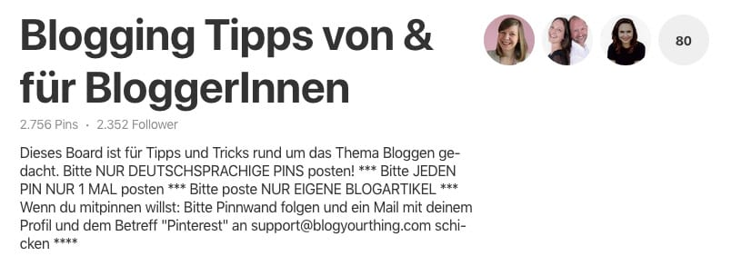 Pinterest: Gruppenboard Blogging Tipps