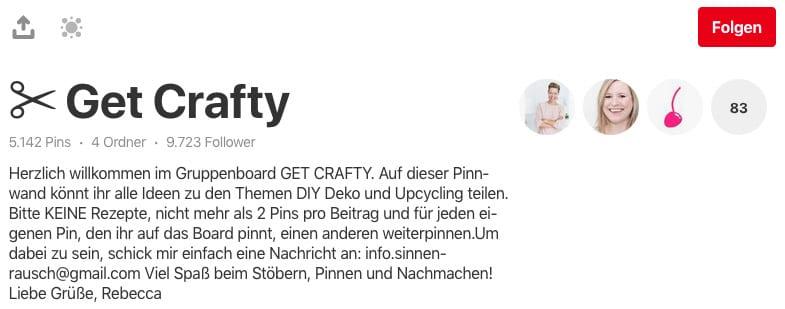 Pinterest: Gruppenboard Get Crafty