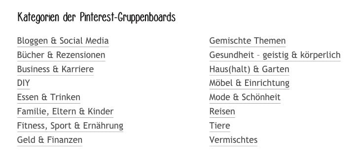 Übersicht über Pinterest-Gruppenboards auf Meergedanken.de
