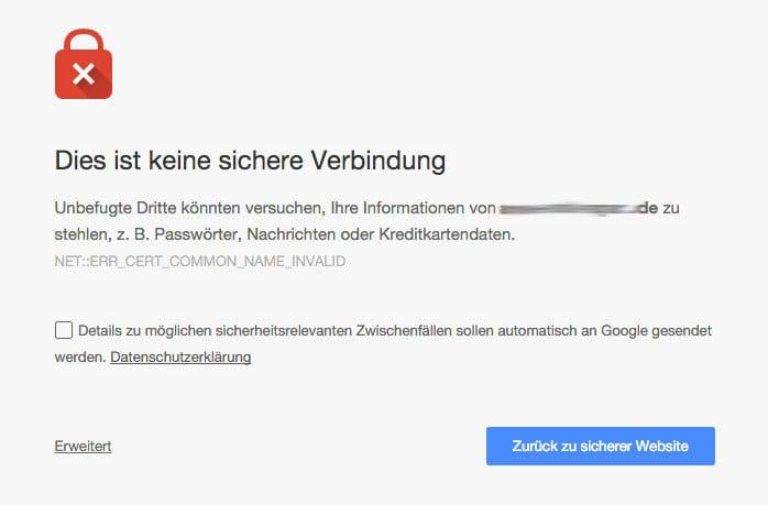 Screenshot: Warnung vor unsicherer Seite in Chrome