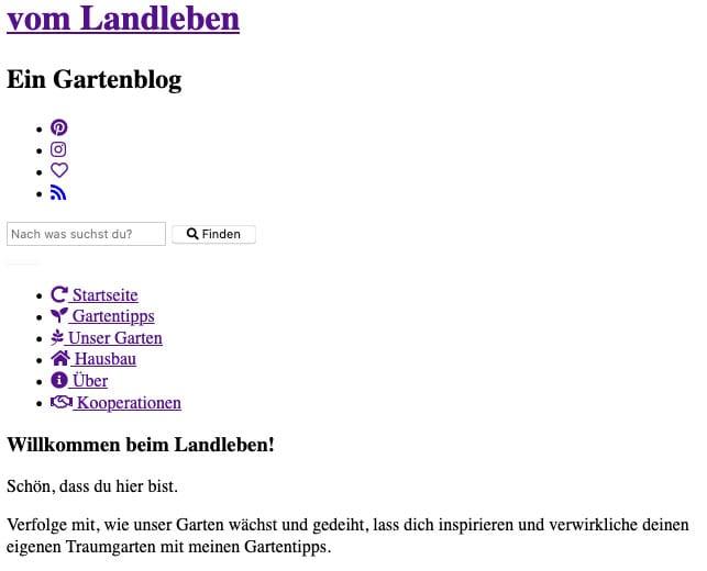 Eine Webseite ohne CSS