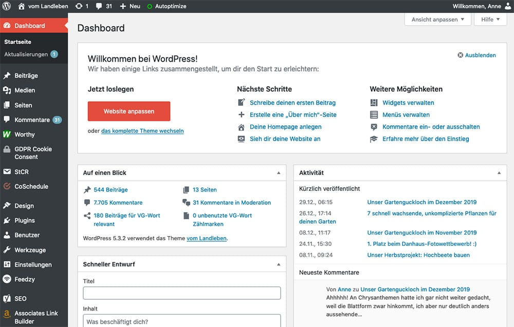 Das WordPress-Dashboard