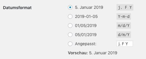 Datumsformat in WordPress einstellen